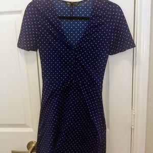 Short Blue and Pink Polka Dot Dress